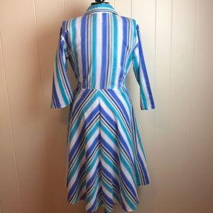 Vintage Dresses - Vintage 70s/80s Blue White Striped Day Dress